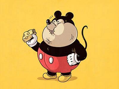 一众经典的卡通及动漫人物在他笔下都身型突变—成了
