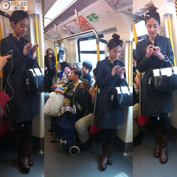 港姐陳凱琳搭港鐵