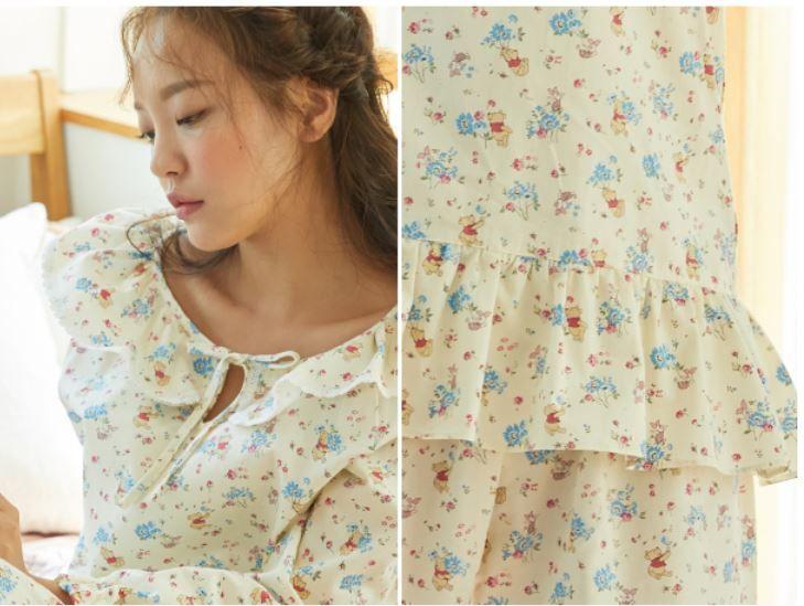 韓國Roem X 小熊維尼推出睡衣+居家服!超可愛少女風花卉印花!