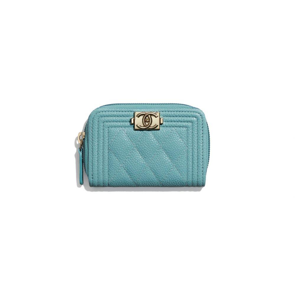 boy chanel拉鏈零錢銀包 #藍色 (售價港幣HKD $4,200)