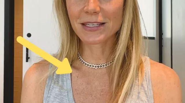影片可見,Gwyneth Paltrow習慣不塗抹防曬的部位,如頸部及胸前位置曬斑明顯。