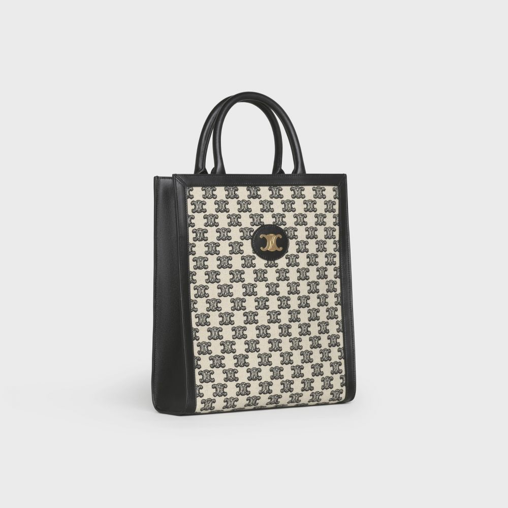 CELINE SMALL CABAS VERTICAL IN TEXTILE WITH TRIOMPHE EMBROIDERY BLACK HK$17,500