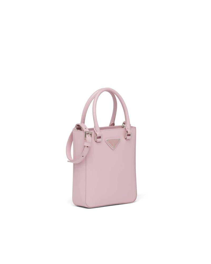 PRADA Small brushed leather tote Alabaster Pink,HK$ 13,300