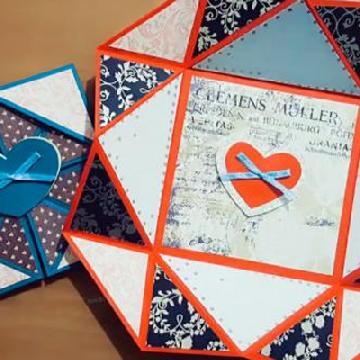 變大變細~ 1張正方形紙摺縮放式心意卡