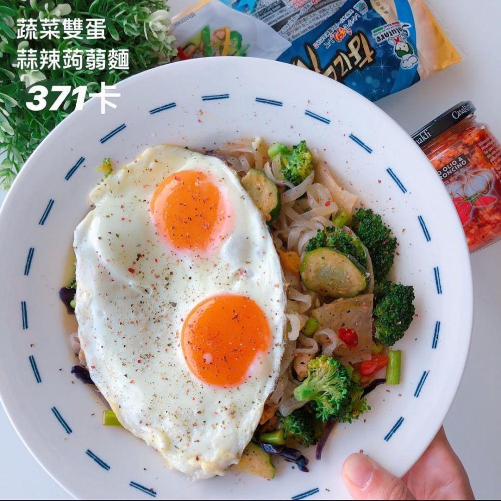 蔬菜雙蛋蒜辣蒟蒻麵