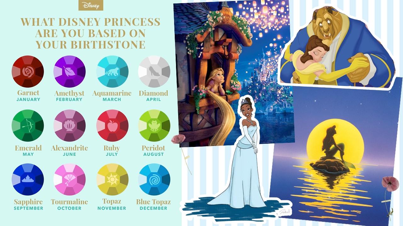 1月:貝兒&石榴石、11月:長髮公主&黃寶石  迪士尼公布12出生月份專屬公主&角色和誕生石!