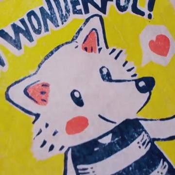 紅藍黃三色!自己動手印狐狸犬版畫