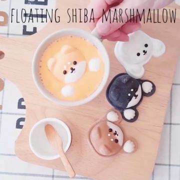 浮在咖啡超治癒!3種材料動手做柴犬棉花糖(附食譜)