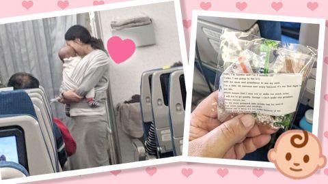 家教超好!韓國媽媽攜BB上飛機!怕哭聲打擾乘客派200張暖心字條+耳塞