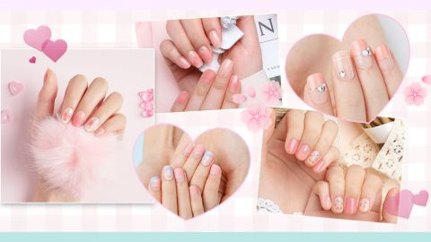 【美甲】輕鬆「貼」上便完成!浪漫櫻花、心形設計!12款韓國粉色系美甲貼合集!