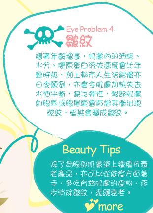 Eye Problem 4:皺紋 隨著年齡增長,肌膚內的油脂、水分、膠原蛋白流失速度會比年輕時快,加上都市人生活習慣亦日夜顛倒,亦會令肌膚加快失去水油平衡,缺乏彈性,眼部肌膚如眼底或眼尾更會首當其衝出現乾紋,更甚會變成皺紋。Editor Picks: 一般抗皺眼部產品的質地會較滋潤,所以應於晚上睡前使用。使用時應適度地輕輕按摩眼部,刺激眼部肌膚淋巴與血液循環,幫助產品吸收。