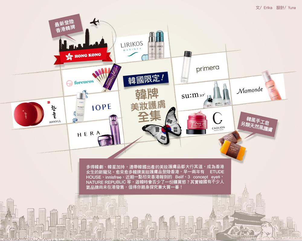 文/Erika  設計/Yuna 多得韓劇、韓星加持,連帶韓國出產的美妝護膚品都大行其道,成為香港女生的新寵兒。愈來愈多韓牌美妝護膚品登陸香港,早一兩年有 ETUDE HOUSE、innisfree,近期一點初來香港報到的 Belif、3 concept eyes、NATURE REPUBLIC 等,遊韓時會否少了一份購買慾?其實韓國有不少人氣品牌尚未在港發售,值得你親身探究兼大買一番!